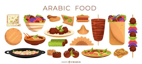 Colección de ilustración de comida árabe