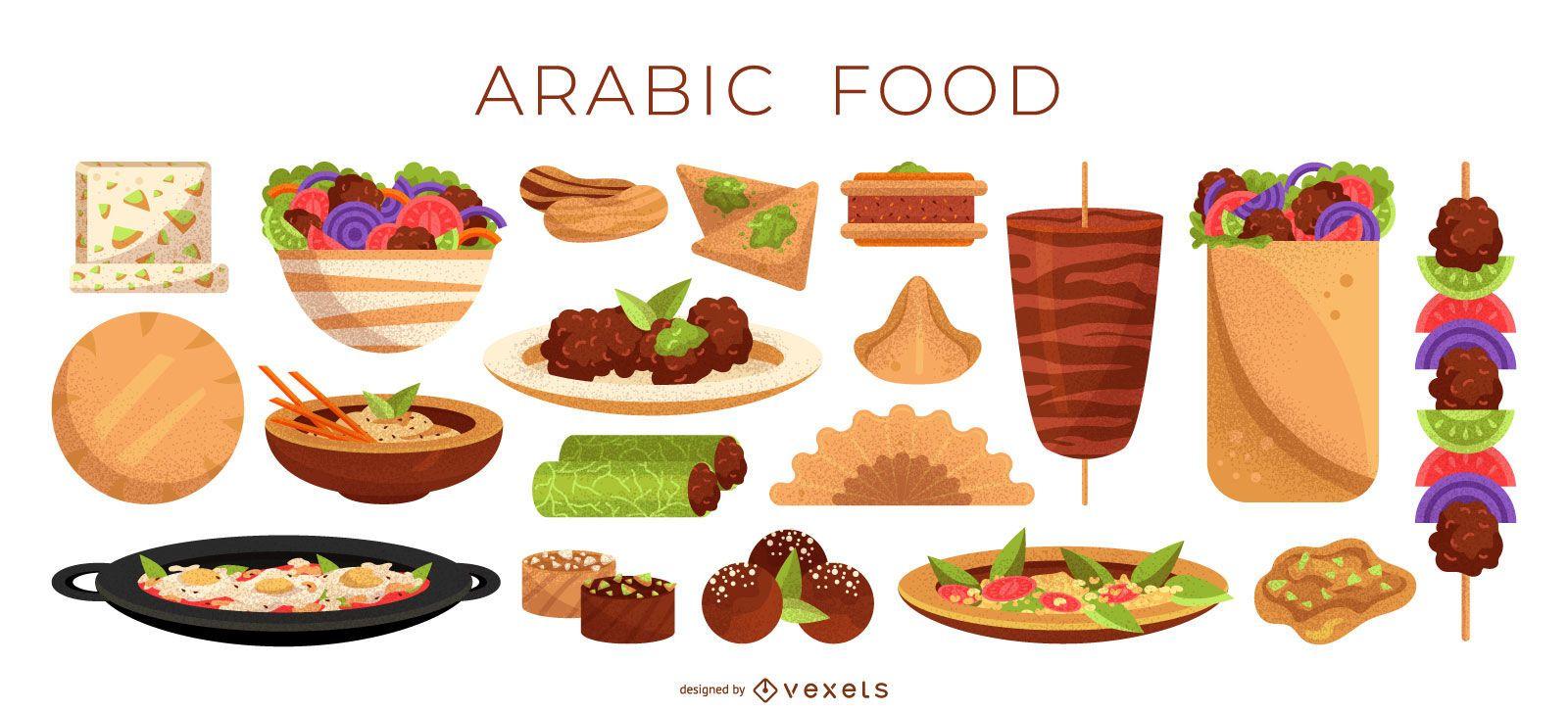 Arabic food illustration collection