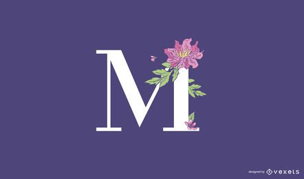 Blumenbuchstabe M Logo Vorlage