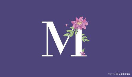 Plantilla de logotipo floral letra M