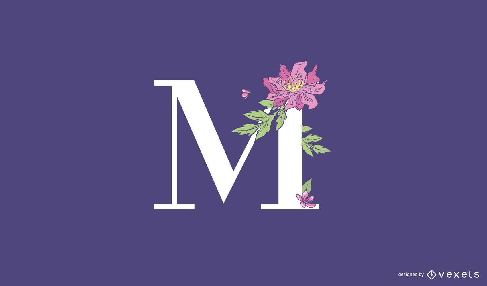 Modelo de logotipo floral com letra M