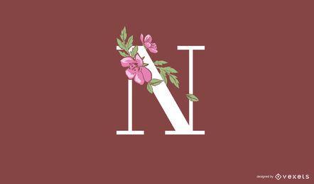 Modelo de logotipo floral com letra n