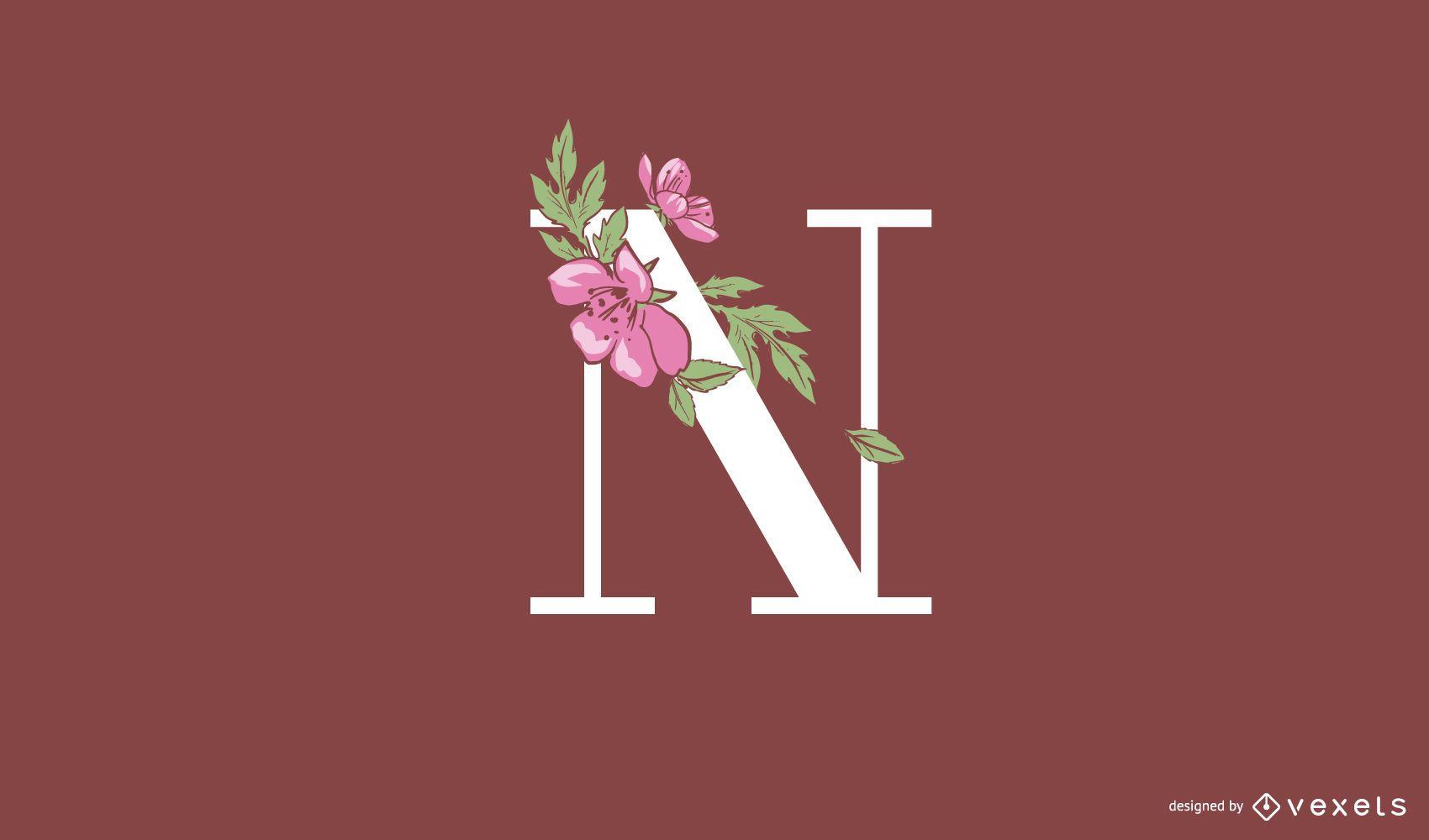Plantilla de logotipo floral letra n