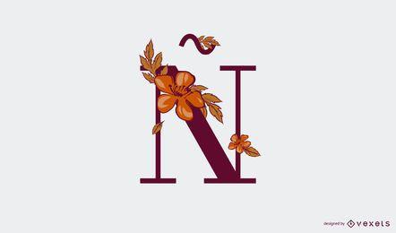 Letra floral ñ plantilla de logotipo