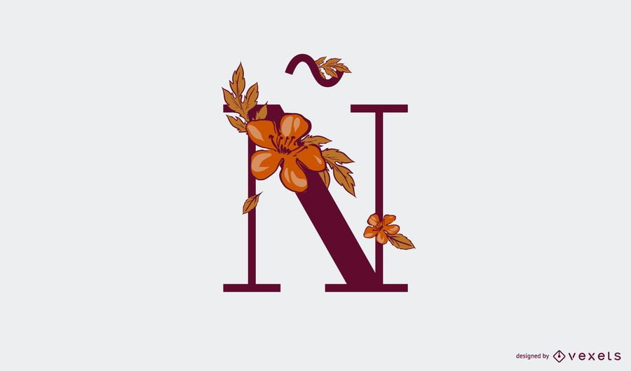 Floral letter ñ logo template