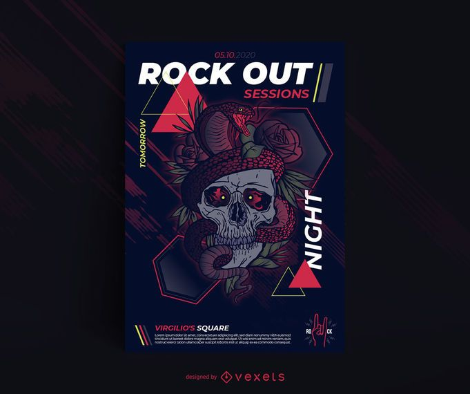 Skull and snake poster template