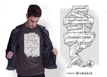 Diseño de camiseta de Atlas de deuda
