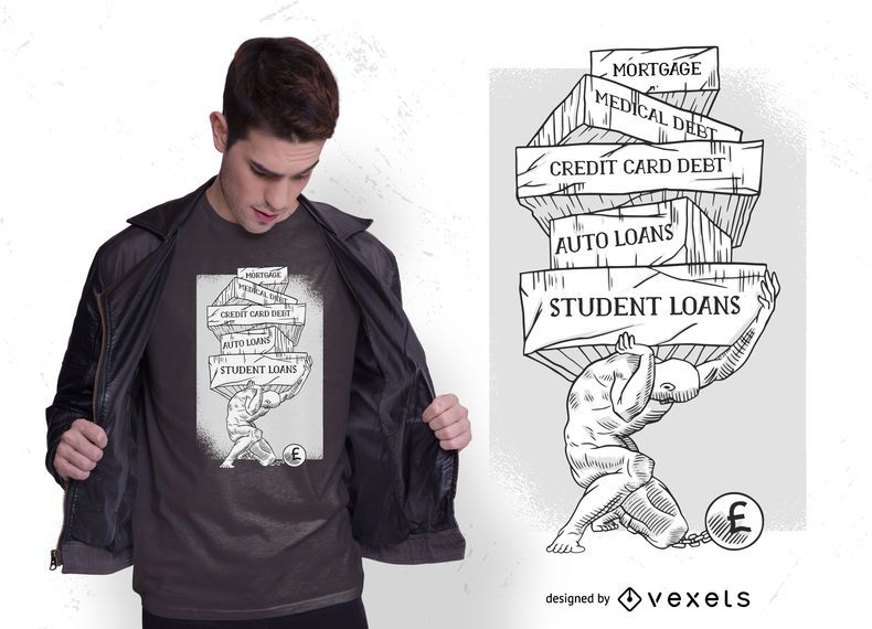 Design de camiseta de Atlas da dívida