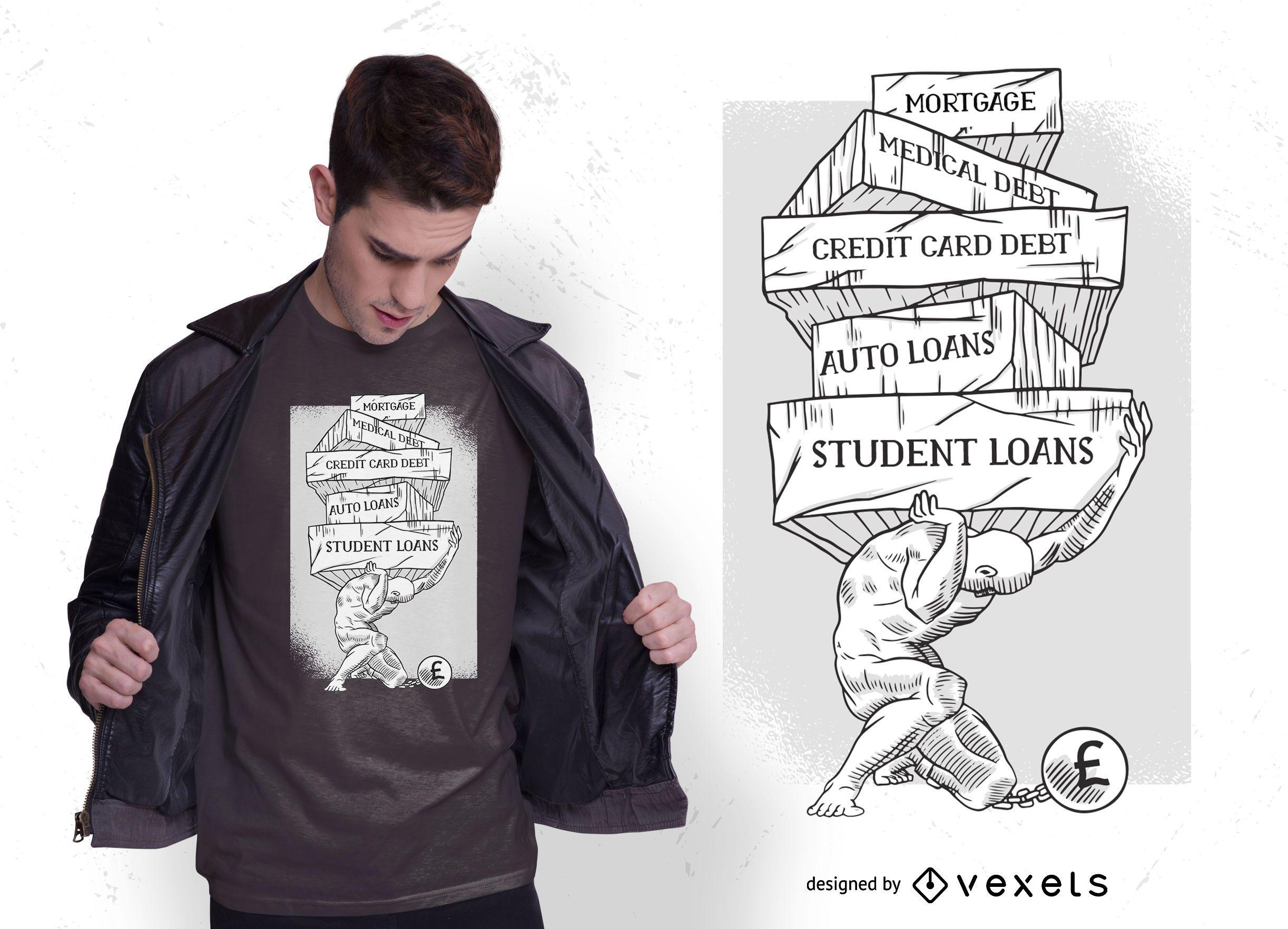 Diseño de camiseta Debt Atlas