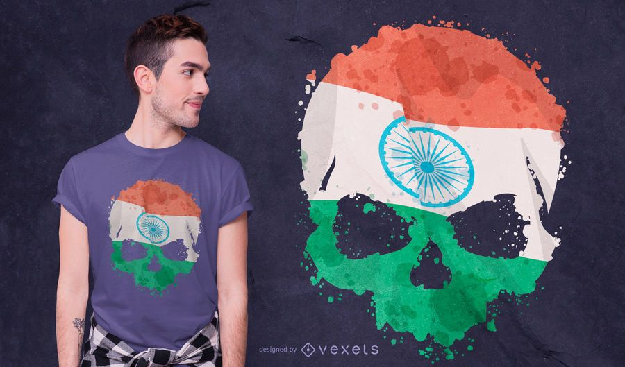 Indian Skull Grunge T-shirt Design