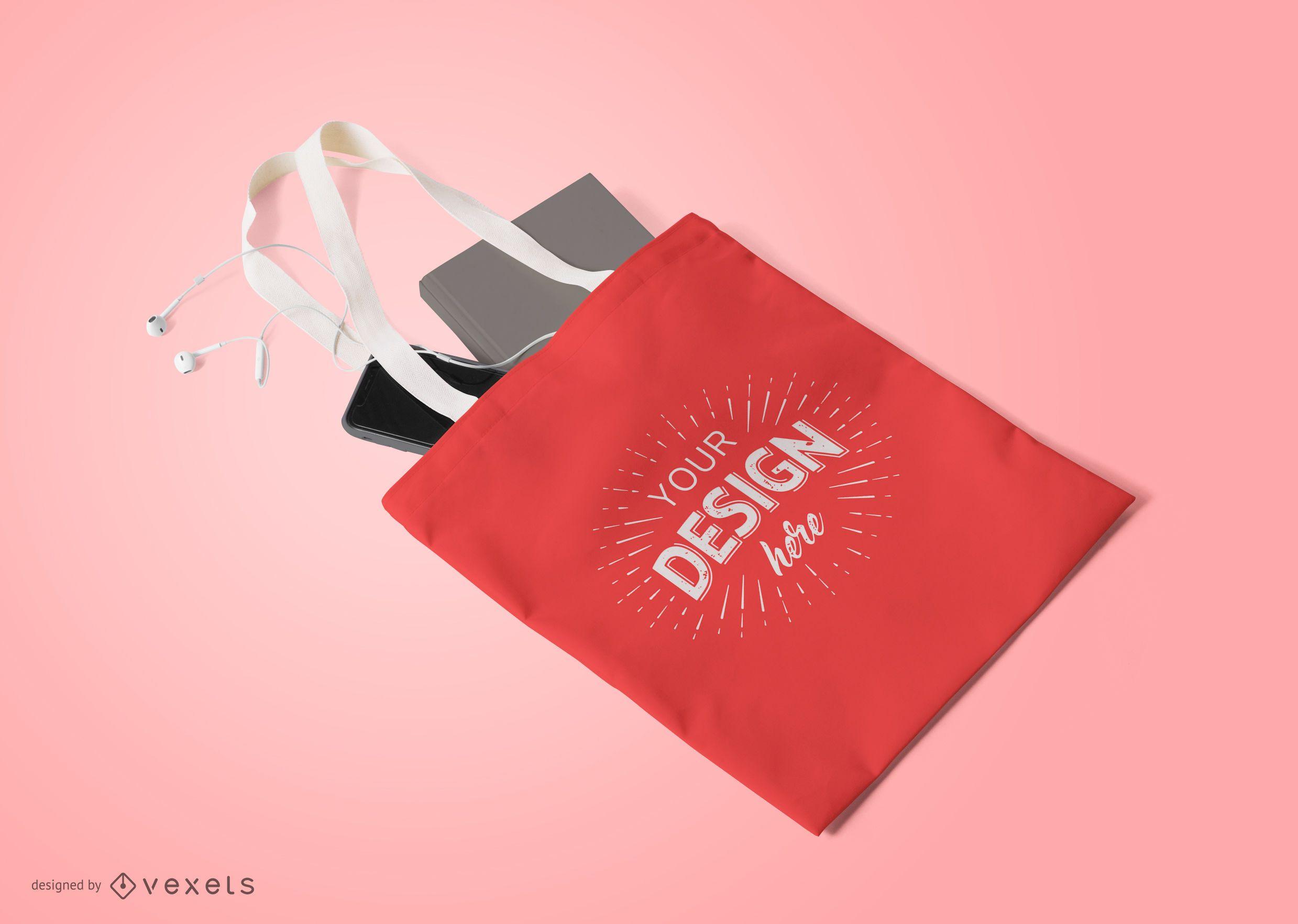 Composição de maquete de sacola