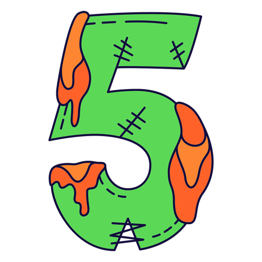 Colorful halloween number 5 Transparent PNG