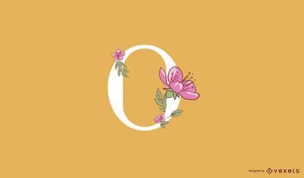 Modelo de logotipo floral letra o