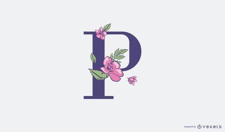 Plantilla de logotipo floral letra p