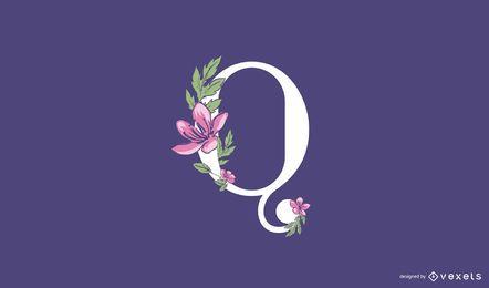 Modelo de logotipo q floral letra