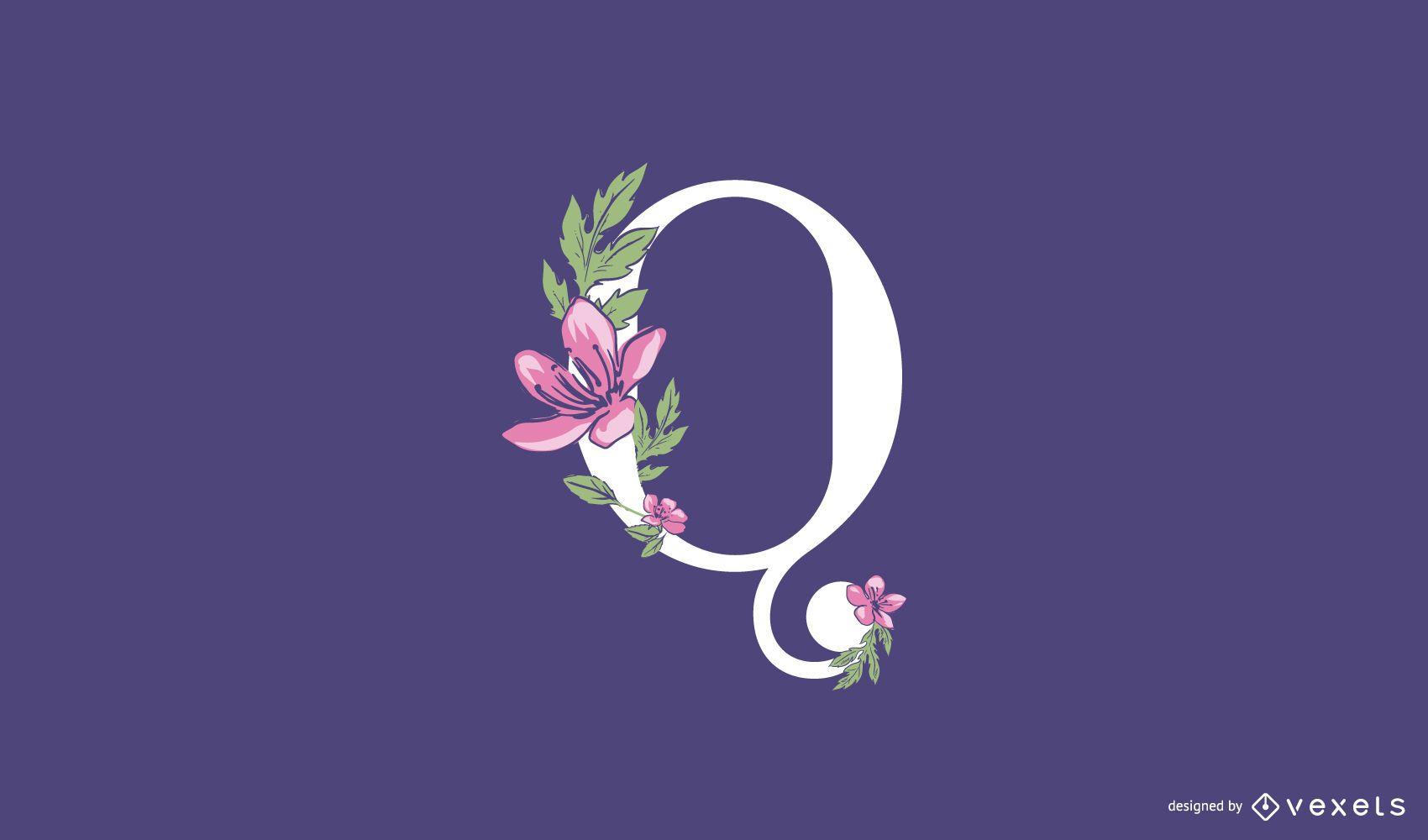 Plantilla de logotipo floral letra q
