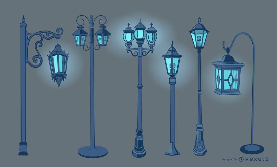 Old Vintage Street Lamp Design Set