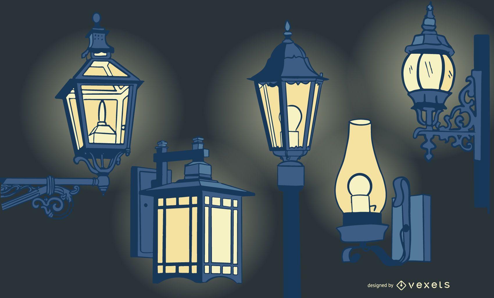 Conjunto de diseño de lámpara vintage antiguo