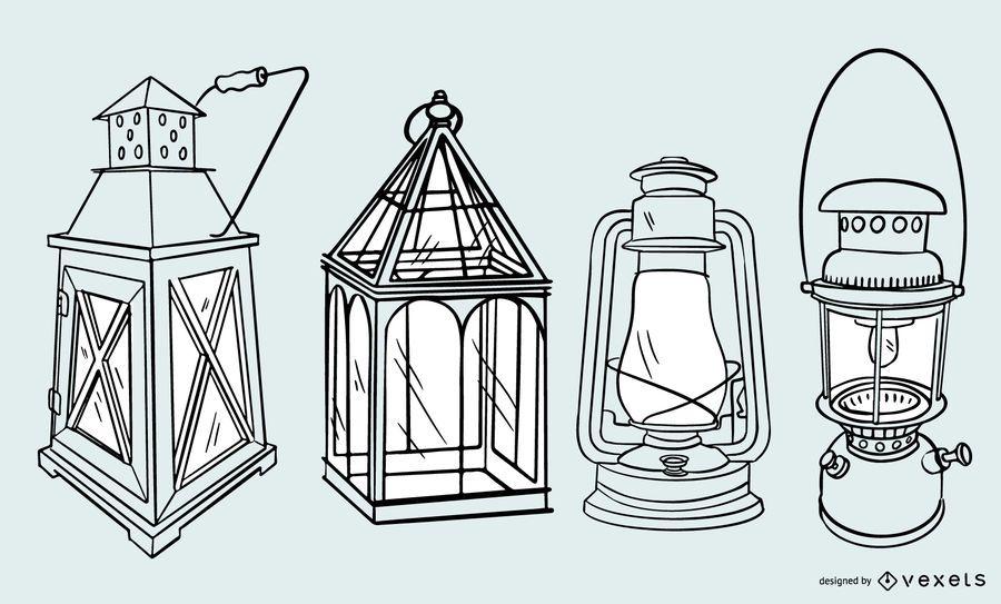 Antique Lamp Stroke Design Set