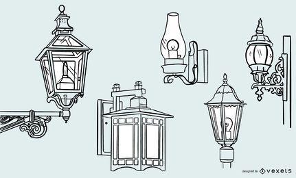 Conjunto de diseño de trazo de lámpara vintage antiguo