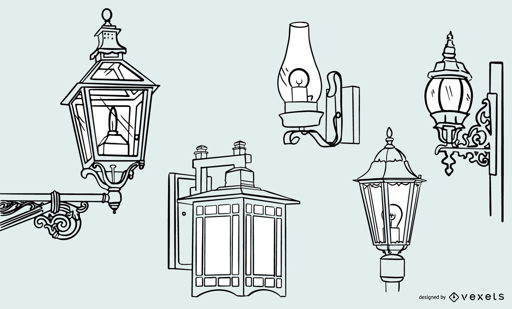 Old Vintage Lamp Stroke Design Set