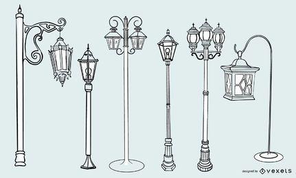 Conjunto de diseño de trazo de lámpara de calle vintage antiguo