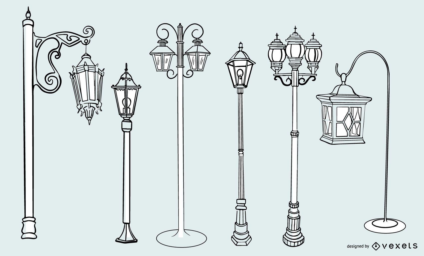 Old Vintage Street Lamp Stroke Design Set