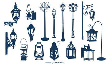 Coleção de silhueta velha lâmpada Vintage