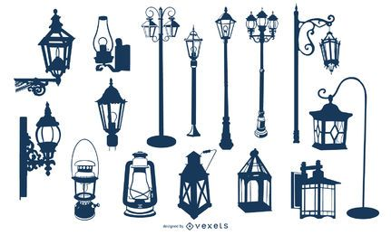Old Vintage Lamp Silhouette Collection