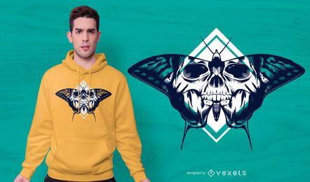 Design de t-shirt de caveira de borboleta