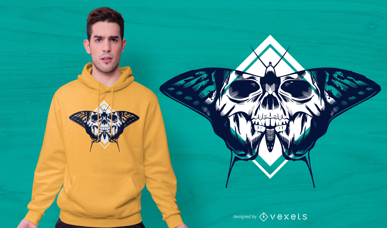 Diseño de camiseta de calavera de mariposa