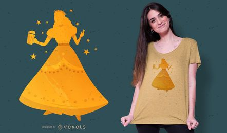 Diseño de camiseta de princesa de cerveza