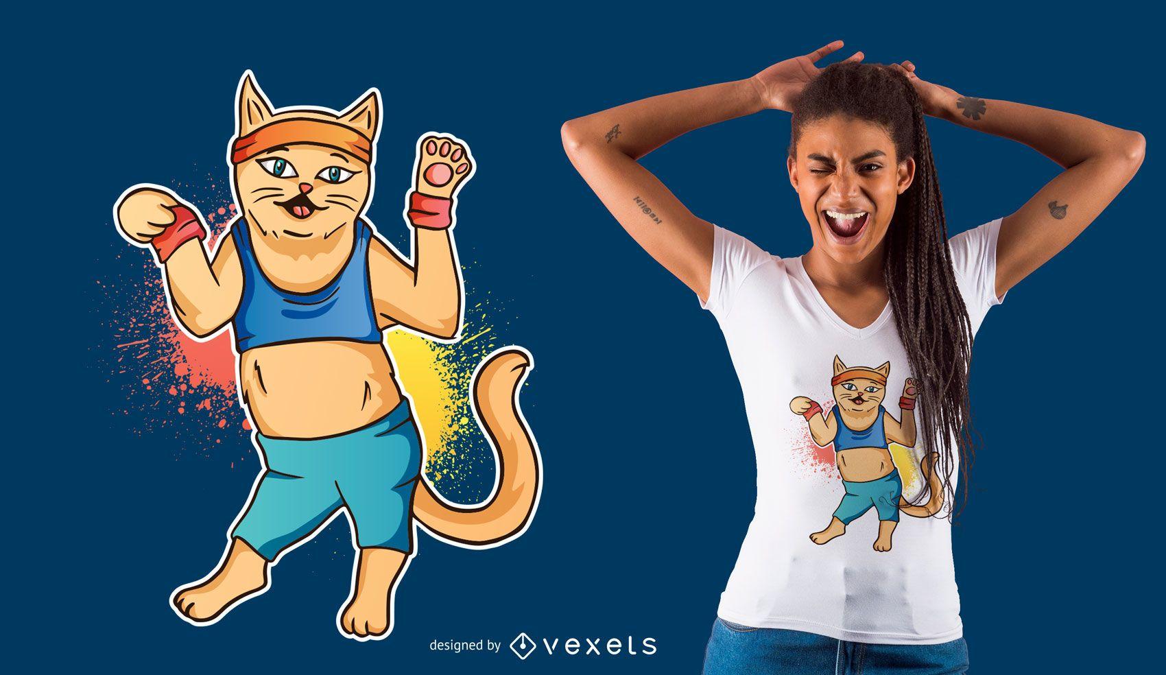 Fitness cat t-shirt design