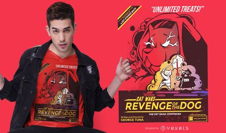 Diseño de camiseta Cat Wars revenge