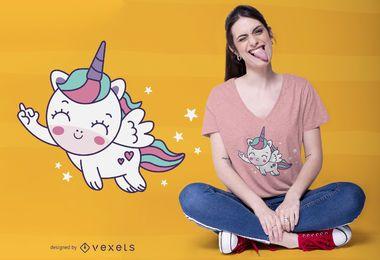 Diseño de camiseta lindo unicornio volador