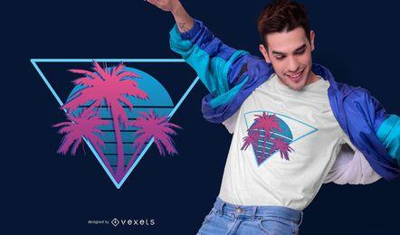 Design de t-shirt de palmeiras de néon