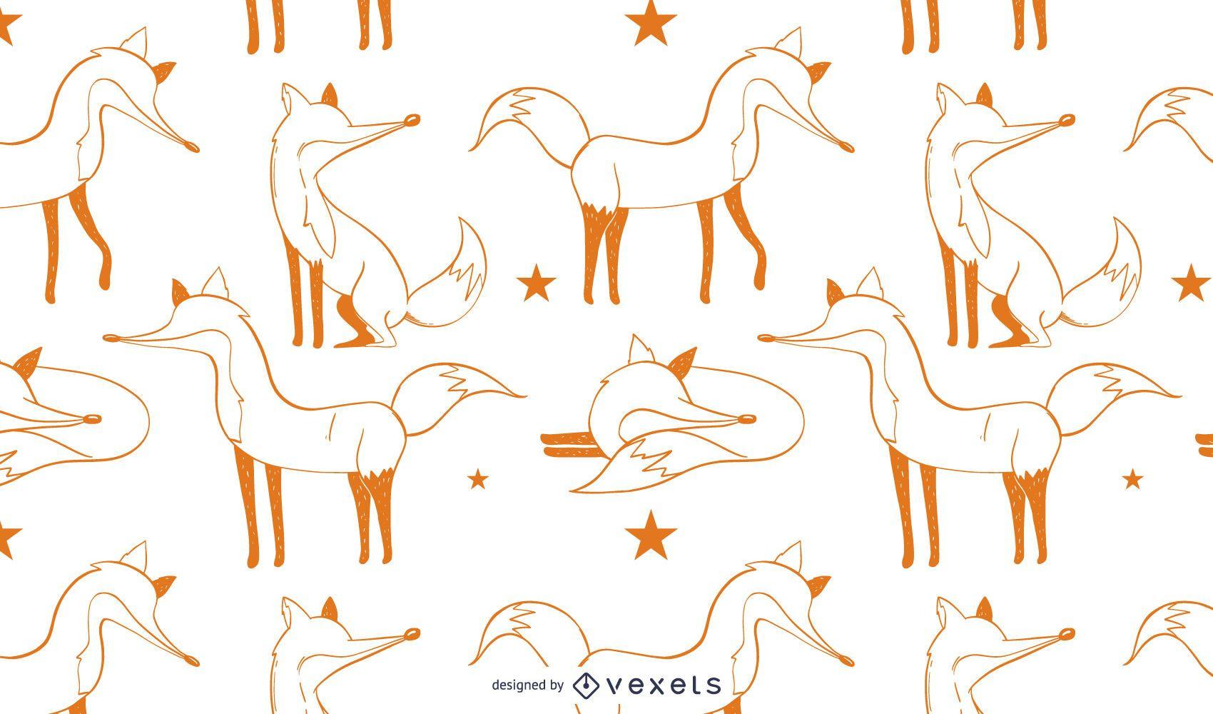 Diseño de patrón de ilustración de zorro