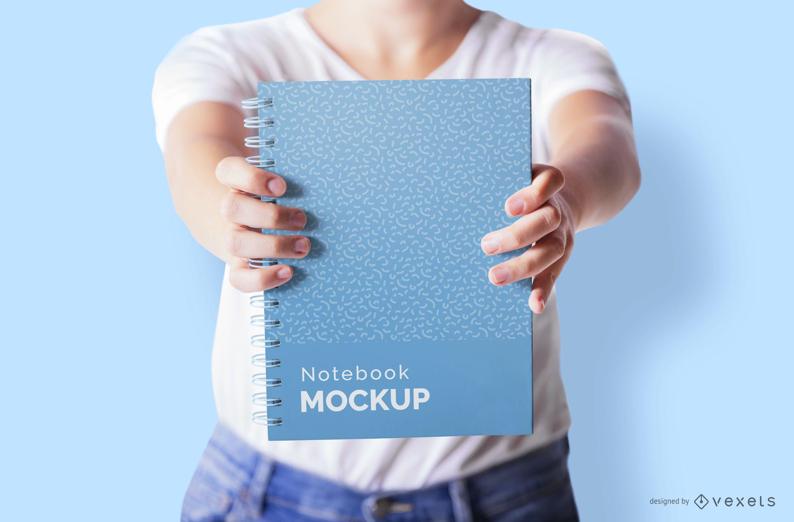 Maqueta de modelo de portada de cuaderno
