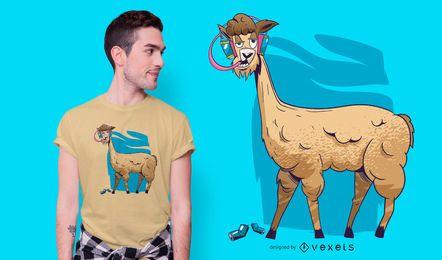 Design de t-shirt de alpaca bêbado