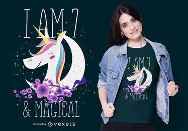 Diseño de camiseta de unicornio de 7 años