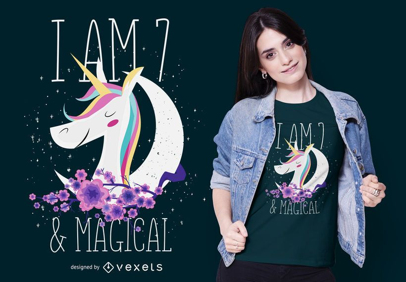 7 years-old Unicorn T-shirt Design