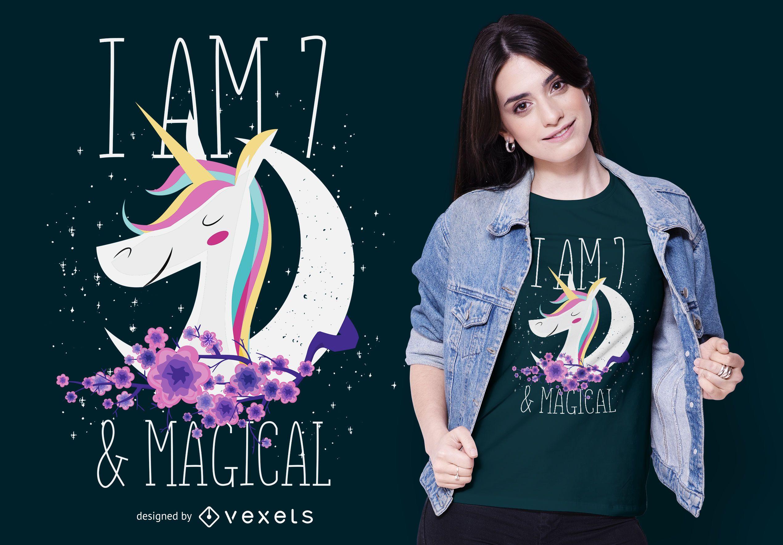 7 years-old Unicorn T-shirt Design