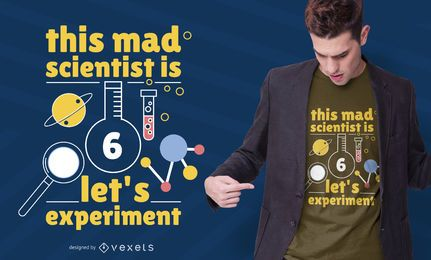 Design de camiseta de cientista de 6 anos