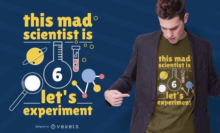 Diseño de camiseta de científico de 6 años