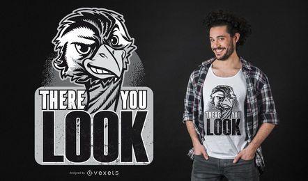 Diseño de camiseta de cita de avestruz