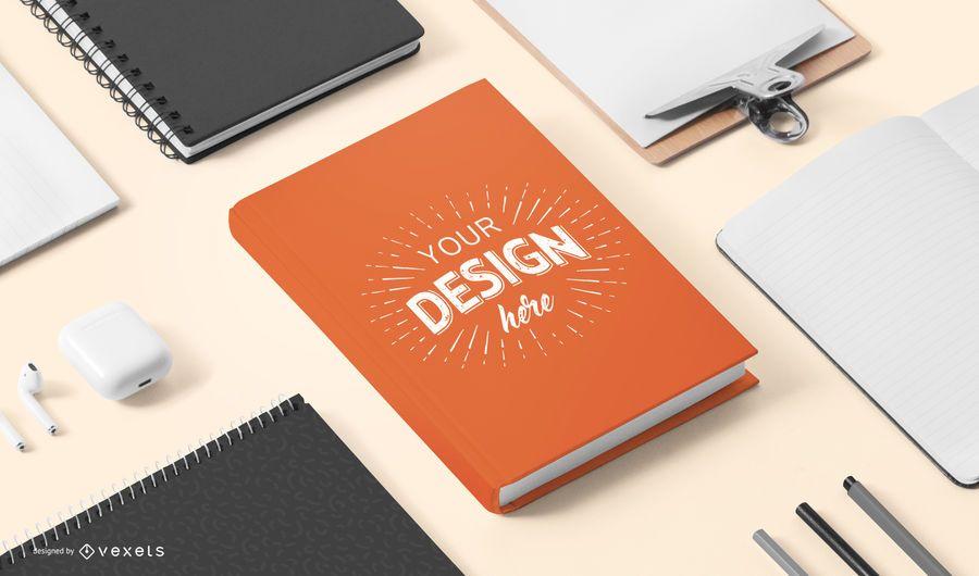Maqueta de papelería de portada de libro