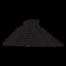 Aztec temple silhouette