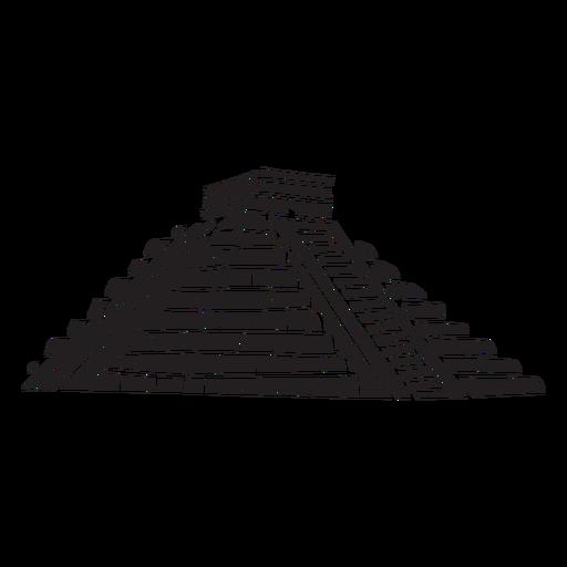 Silueta del templo azteca