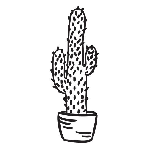Cactus plant pot tall stroke Transparent PNG