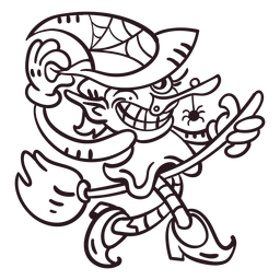 Ilustração de bruxa incolor